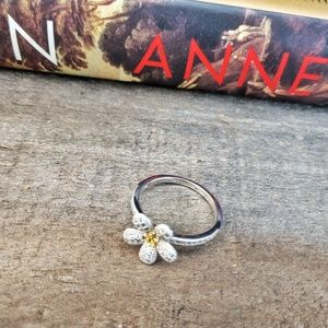 New LAFONN Pave Platinum Plated Flower Ring